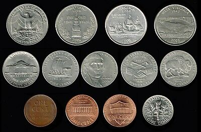 US.A:-selection of 13 different Varieties of circulation coins. AP6961