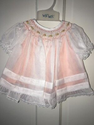 Will'beth heirloom embroidered smocked portraits dress peach white Newborn
