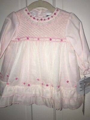 Sarah Louise 6M Smocked Pink Dress Embroidery & Pearls~Nwt