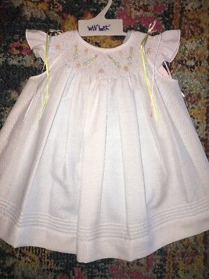 Will'beth heirloom embroidered smocked portraits Bishop dress 9 Months