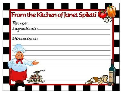 20 Fat Chef Kitchen Recipe Cards ~ Personalized