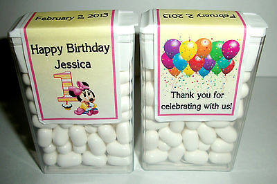 28 Baby Minnie Mouse 1St Birthday Party Favors Tic Tac Labels ~ Personalized