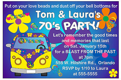 70's PARTY INVITATIONS