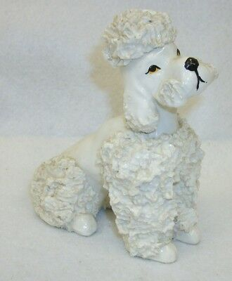 Vintage White Spaghetti Poodle Dog Figurine Statue - Made in Japan
