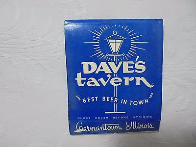 Vintage Matchbook Full Matches Dave's Tavern Germantown Illinois IL Stag Beer