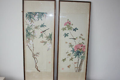 2 Pcs Chinese Original Bird Flower Ink & Watercolour Painting on Silk - Signed