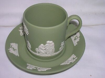 Lovely Wedgwood green jasper ware coffee cup and saucer