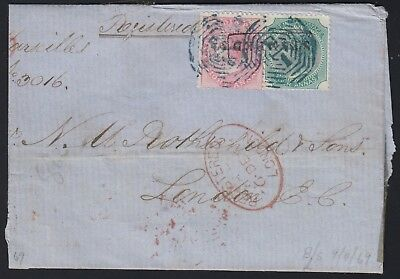 India 1869 QV 12a REGISTERED cover from Calcutta to UK via Marseilles