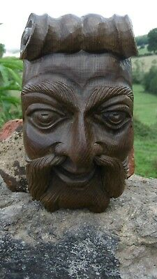 SUPERB 19thc GOTHIC WALNUT WOOD CARVED CAPITOL OF A MALE HEAD C.1870
