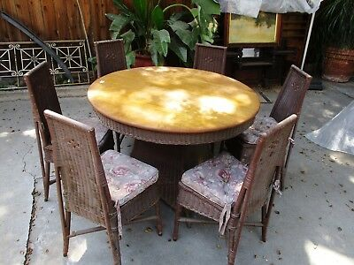 1920's OAK TOP W/ WICKER BASE RD DINING TABLE W/ 6 CHAIRS ARTS & CRAFTS MISSION