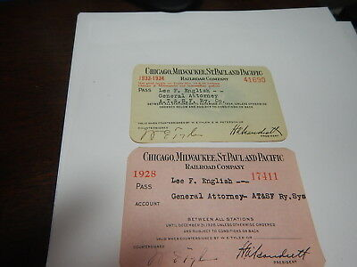 2  old Railroad passes Chicago, Milwaukee St. Paul & Pacific old estate