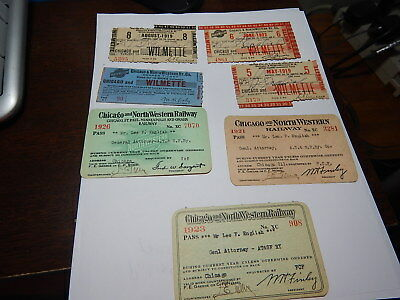 3  old Railroad passes Chicago & Northwestern plus ticket stubs old estate