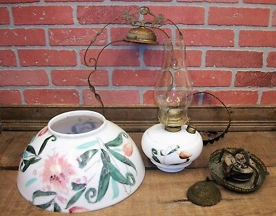 Antique Victorian Hanging Oil Parlor Library Lamp Light Handpainted Shade & Font