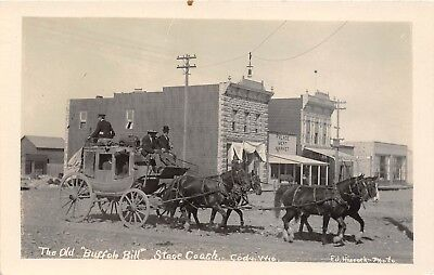 LP70 Cody Wyoming Buffalo Bill Stagecoach Vintage Hiscock Real Photo Postcard