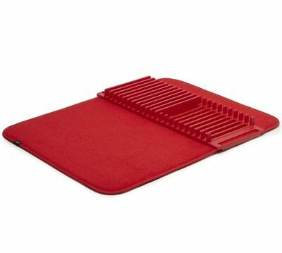 Umbra UDRY DRYING MAT and DISH RACK 2-in-1 Dishrack Drainer Tidy RED