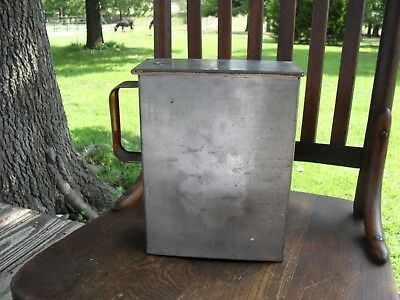 Rare Antique Vintage Tin Hoosier Pantry Cabinet Cereal Container Primitive Box