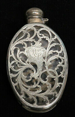 Antique Alvin Sterling Silver Overlay Crystal Flask