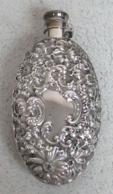 ANTIQUE 19th CENTURY WALLACE STERLING SILVER FLORAL BAROQUE FLASK