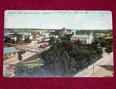 1906 Vintage Postcard Wexio View from South Sweden Building Houses Trees