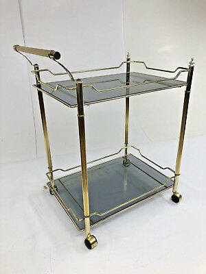 Vintage Hollywood Regency Two Tier Rolling Cart tea glass brass mid century bar