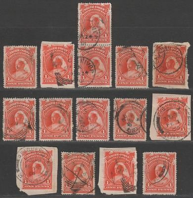 Niger Coast 1894-97 Queen Victoria 1d Selection Used Various Postmarks