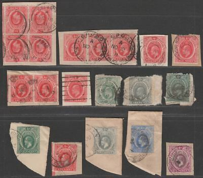 Southern Nigeria 1907-12 KEVII-KGV Selection to 1sh Used on Pieces