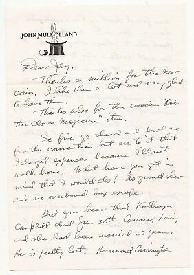 Letter From John Mulholland To Jay Marshall 1959