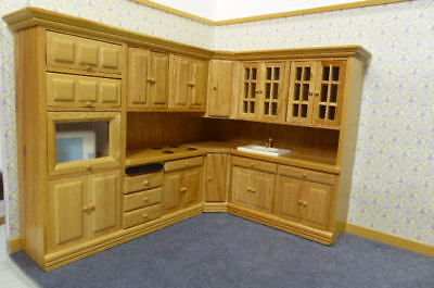 Dolls house Furniture 1/12 Scale Pine Effect Fitted Kitchen Unit Sections
