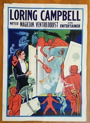 LORING CAMPBELL Noted Magician Ventriloquist and Entertainer Vintage Poster
