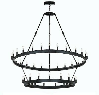 Wrought Iron Vintage Barn Metal Camino Two Tier Chandelier 38? H 50?