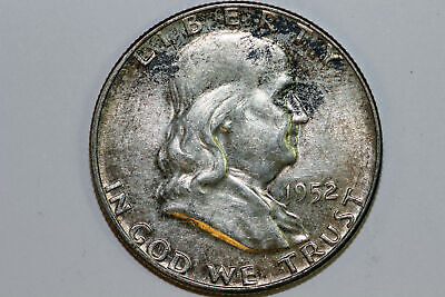 About Uncirculated 1952 P Album Toned Franklin 90% Silver Half Dollar (FHX996)