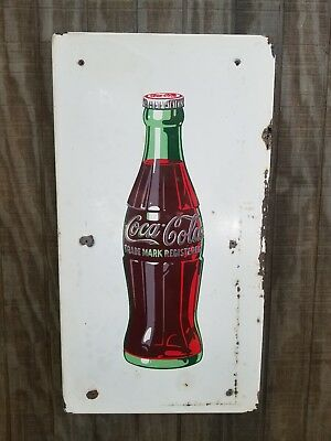 "Authentic Coca-Cola Bottle White Porcelain Sign Wall Hanger Vintage 33"" x 18"""