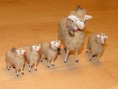 Lot Of 5 Antique Victorian German Wooly Sheep One Large Ram With Bell On Collar