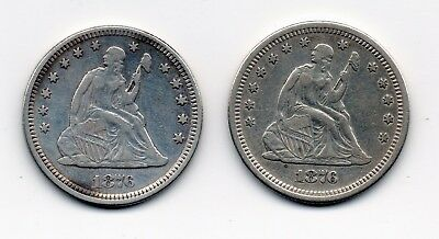 1876 & 1876-S Liberty Seated Quarter Dollars Very Fine Details