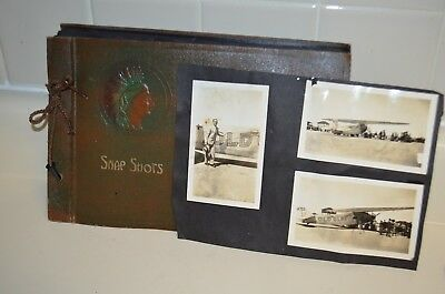 1920's Photo Album Old Glory Monoplane That Crashed In 1927 Beach School Fishing