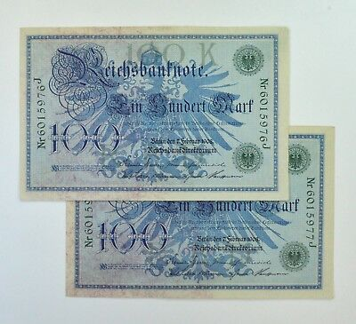 (2) Consecutive 1908 Germany 100 Marks Reichsbanknote #34 *8442