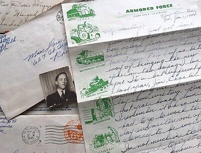 Lot @ 26 WW2 Letters Cards V Mail SGT Ray Ifill 710th TANK Bn US Army WWII