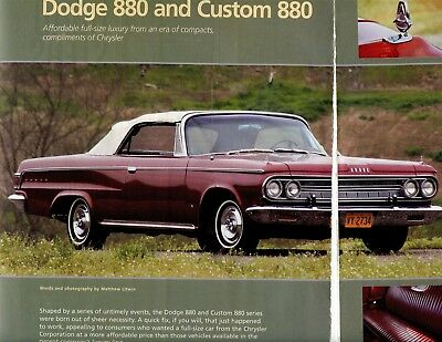 1962 1963 1964 Dodge 880 6 Pg Color Buyer's Guide Article