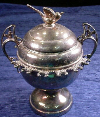 Vintage WMF German From Canada Silver Plate Lidded Dish With Bird
