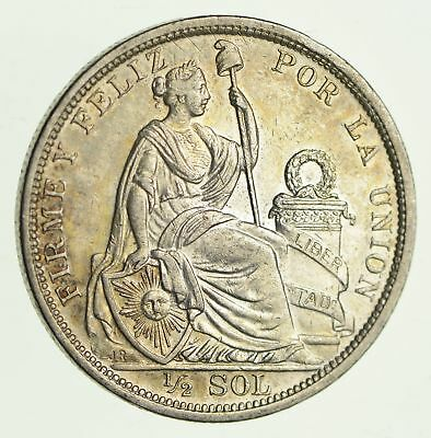 Roughly Size of Half Dollar - 1915 Peru 1/2 Sol - World Silver Coin - 12.5g *928