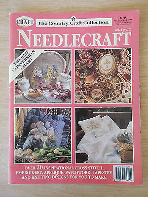 Country Craft Collection~Needlecraft Vol 1 #2~Knit~Cross Stitch~Embroidery~Sew