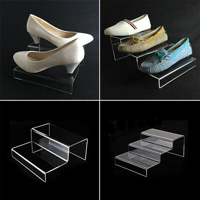 1X Clear Acrylic Shoes Display Stand Jewellery Cosmetics Rack Organiser Holder