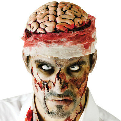 NEW Zombie Exposed Brains Halloween Headwear Mental Patient Bloody Costume Cap
