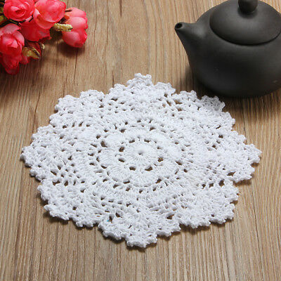6.3'' White Cotton Yarn Hand Crochet Lace Doily Placemat Snowflake Flower Mats