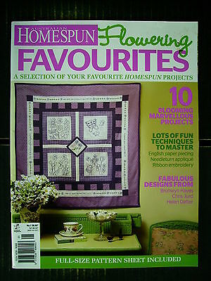 Australian Homespun~Flowering Favourites #1~Quilts~Embroidery~Flower Doll~Bag