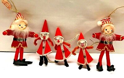 LOT 5 Vtg MCM 1960's SANTA Christmas Ornament Spun Cotton Chenille Pipe Cleaners