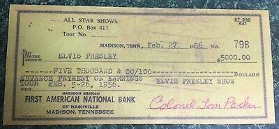 ELVIS PRESLEY $5,000.00 CANCELLED CHECK FROM COL. TOM PARKER FEB. 1956 Facsimile