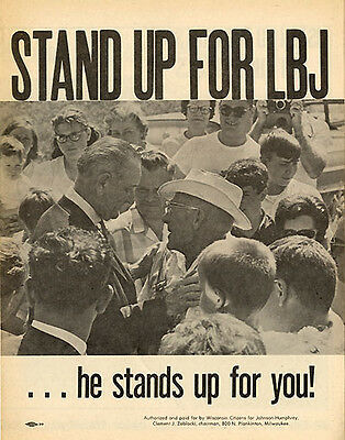 1968 Lyndon Johnson STAND UP FOR LBJ Wisconsin Primary Brochure (4793)