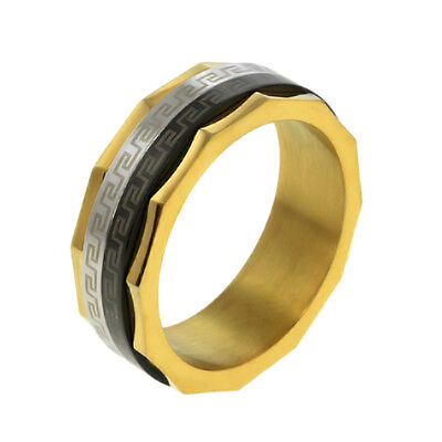 8MM Tri-Color Greek Key Stainless Steel Spinning Center Wedding Band Ring