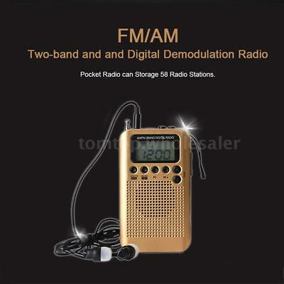 AM/FM Stereo Radio Pocket 2Band Digital Tuning Radio Mini Receiver LCD Headphone